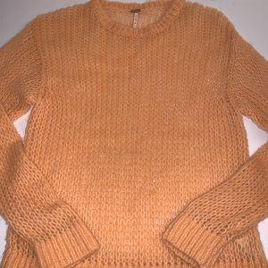 Free People Alpaca Wool Peach Crocheted Sweater